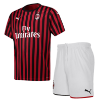 19-20 AC Milan Home Black&Red Soccer Jerseys Kit(Shirt+Short)