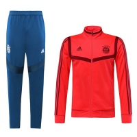 19/20 Bayern Munich Red&Dark Red High Neck Collar Training Kit(Jacket+Trouser)