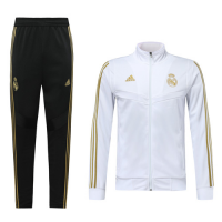 19-20 Real Madrid White High Neck Collar Training Kit(Jacket+Trouser)