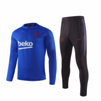 19/20 Barcelona Blue Zipper Sweat Shirt Kit(Top+Trouser)