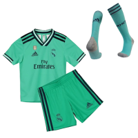 19/20 Real Madrid Third Away Green Children's Jerseys Kit(Shirt+Short+Socks)