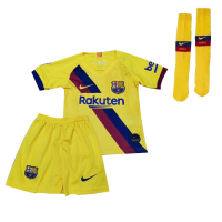 19-20 Barcelona Away Yellow Children's Jerseys Kit(Shirt+Short+Socks)