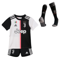 19-20 Juventus Home Black&White Children's Jerseys Whole Kit(Shirt+Short+Socks)