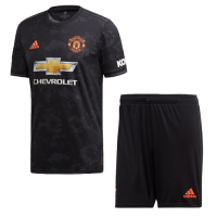 19-20 Manchester United Third Away Black Jerseys Kit(Shirt+Short)
