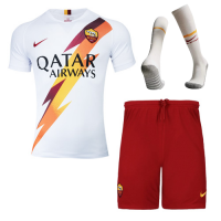 19-20 Roma Away White Soccer Jerseys Kit(Shirt+Short+Socks)