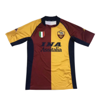 01-02 Roma Home Red&Yellow Soccer Retro Jerseys Shirt