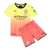 19/20 Manchester City Third Away Yellow&Orange Children's Jerseys Kit(Shirt+Short)