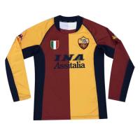 01/02 Roma Home Red&Yellow Retro Long Sleeve Jerseys Shirt
