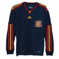 2010 Spain Away Blue Retro Long Sleeve Jerseys Shirt