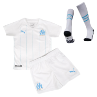 19/20 Marseilles Home White Children's Jerseys Kit(Shirt+Short+Socks)