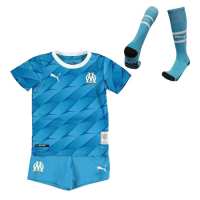 19/20 Marseilles Away Blue Children's Jerseys Kit(Shirt+Short+Socks)