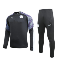 19/20 Manchester City Black Zipper Sweat Shirt Kit(Top+Trouser)