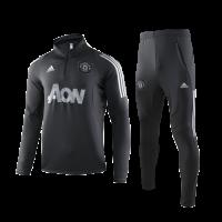 19/20 Manchester United Black Zipper Sweat Shirt Kit(Top+Trouser)