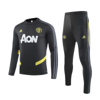 19/20 Manchester United Black O-Neck Sweat Shirt Kit(Top+Trouser)