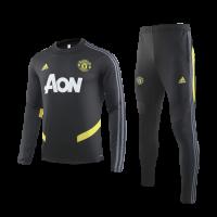 19/20 Manchester United Black O-Neck Sweat Shirt Kit(Top+Trouser)
