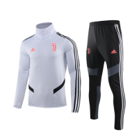 19/20 Juventus White High Neck Collar Sweat Shirt Kit(Top+Trouser)
