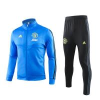 19/20 Manchester United Blue High Neck Collar Training Kit(Jacket+Trouser)