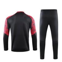 19/20 AC Milan Black Zipper Sweat Shirt Kit(Top+Trouser)