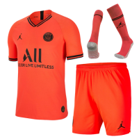 19/20 PSG JORDAN Away Red&Orange Soccer Jerseys Whole Kit(Shirt+Short+Socks)