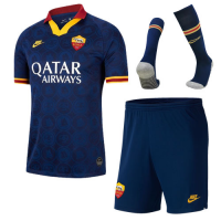 19/20 Roma Third Away Navy Soccer Jerseys Whole Kit(Shirt+Short+Socks)