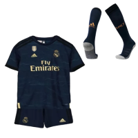 19/20 Real Madrid Away Navy Children's Jerseys Whole Kit(Shirt+Short+Socks)