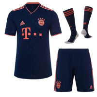 19/20 Bayern Munich Third Away Navy Jerseys Whole Kit(Shirt+Short+Socks)