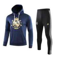 19/20 Real Madrid Black Hoodie Training Kit(Top+Trouser)