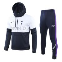 19/20 Tottenham Hotspur White&Navy Hoodie Training Kit(Top+Trouser)