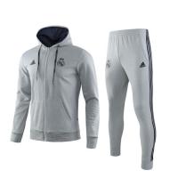 19/20 Real Madrid Gray Hoodie Training Kit(Jacket+Trouser)