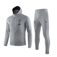 19/20 Liverpool Gray Hoodie Training Kit(Jacket+Trouser)