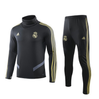 19/20 Real Madrid Black High Neck Collar Sweat Shirt Kit(Top+Trouser)