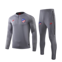 19/20 Atletico Madrid Gray Zipper Sweat Shirt Kit(Top+Trouser)