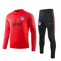 19/20 Atletico Madrid Red Zipper Sweat Shirt Kit(Top+Trouser)