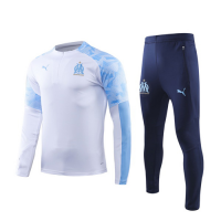 19/20 Marseille White Zipper Sweat Shirt Kit(Top+Trouser)
