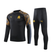 19/20 Marseille Black Zipper Sweat Shirt Kit(Top+Trouser)