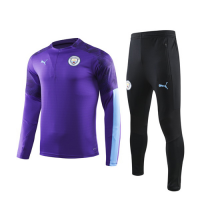 19/20 Manchester City Purple Zipper Sweat Shirt Kit(Top+Trouser)