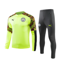 19/20 Manchester City Fluorescent Green Zipper Sweat Shirt Kit(Top+Trouser)
