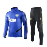 19/20 Manchester United Blue High Neck Collar Sweat Shirt Kit(Top+Trouser)