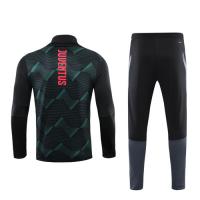 19/20 Juventus Green High Neck Collar Sweat Shirt Kit(Top+Trouser)