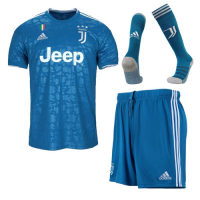 19/20 Juventus Third Away Blue Soccer Jerseys Whole Kit(Shirt+Short+Socks)