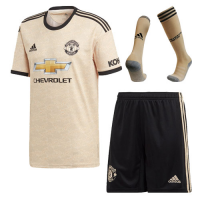 19/20 Manchester United Away Khaki Jerseys Whole Kit(Shirt+Short+Socks)