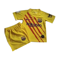 19/20 Barcelona Fourth Senyera Yellow Children's Jerseys Kit(Shirt+Short)