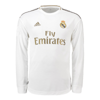 19-20 Real Madrid Home White Long Sleeve Jerseys Shirt