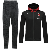 19/20 AC Milan Black Hoodie Training Kit(Jacket+Trouser)