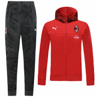 19/20 AC Milan Red Hoodie Training Kit(Jacket+Trouser)