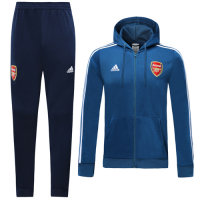 19/20 Arsenal Blue Hoodie Training Kit(Jacket+Trouser)