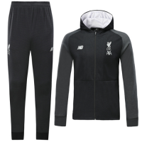 19/20 Liverpool Black Hoodie Training Kit(Jacket+Trouser)