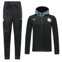 19/20 Manchester City Black Hoodie Training Kit(Jacket+Trouser)