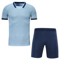 Atletico Madrid Style Customize Team Light Blue Soccer Jerseys Kit(Shirt+Short)