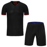 Atletico Madrid Style Customize Team Black Soccer Jerseys Kit(Shirt+Short)